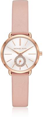 Michael Kors Women's Rose Gold-Tone and Blush Leather Portia Watch