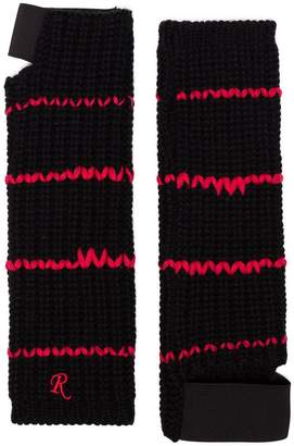 Raf Simons embroidered cuff fingerless wool gloves