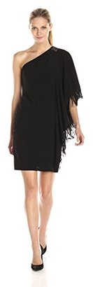 Betsy & Adam Women's One Embellished Shoulder Fringe Dress $75.99 thestylecure.com