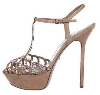 Sergio Rossi Suede Embellished Platform Sandals