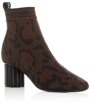 Salvatore Ferragamo Women's Capo 55 Leopard Print Flower Heel Booties