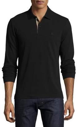 Burberry Long-Sleeve Oxford Polo Shirt, Black
