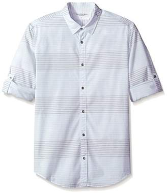 Calvin Klein Jeans Men's Long Sleeve Horizontal Heather Stripe Button Down Shirt
