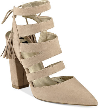 G by GUESS Galway Open-Back Block-Heel Sandals $69 thestylecure.com