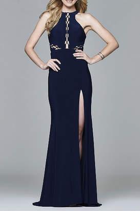 Faviana Long Halter Matte Jersey Dress