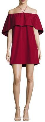 Alice + Olivia Jada Off-the-Shoulder Cape Dress, Wine $265 thestylecure.com