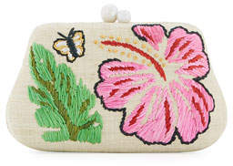 Rafe Rosie Small Straw Clutch Bag with Hibiscus & Butterfly