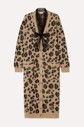 RED Valentino Leopard-jacquard Cotton-blend Cardigan - Brown