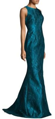 Carmen Marc Valvo Embroidered Peplum Gown $985 thestylecure.com