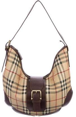 Burberry Leather-Trimmed Haymarket Check Hobo