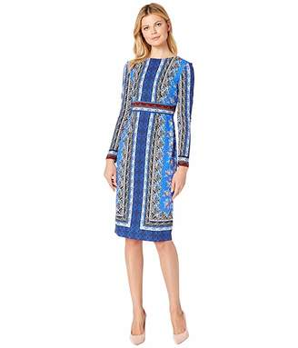 09294b45 Maggy London Paisley Puzzle Printed Scuba Crepe Long Sleeve Midi Dress