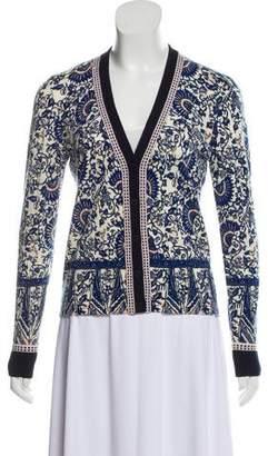 Tory Burch Merino Wool Printed Knit Cardigan