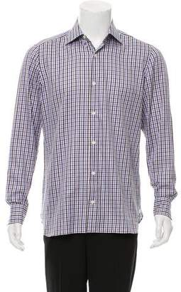 Borrelli Plaid Button-Up Shirt