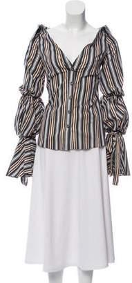 Caroline Constas Striped Button-Up Top w/ Tags