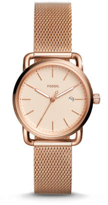 Fossil The Commuter Three-Hand Date Rose Gold-Tone Stainless Steel Watch
