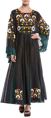 Vita Kin Round-Neck Long-Sleeve Floral-Embroidered Long Linen Dress