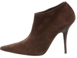 Casadei Suede Pointed-Toe Ankle Boots $195 thestylecure.com