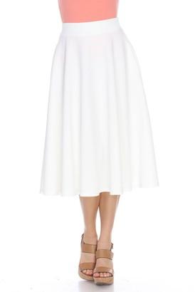 Women's White Mark Midi Skirt