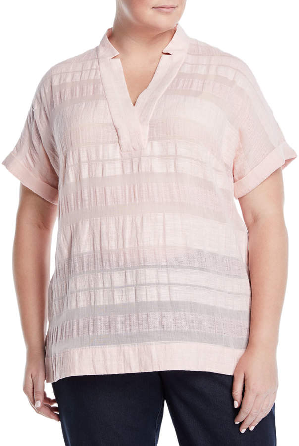 Plus Travis Striped Roll-Sleeve Blouse, Plus Size