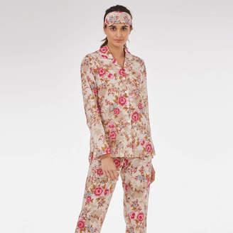 Caro London Cotton Pyjamas In 'Pink Beautiful' Rose Print