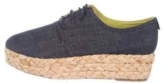 Calvin Klein Jeans Denim Raffia-Trimmed Oxfords