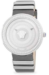 Versace Textured Stainless Steel and Leather-Strap Watch