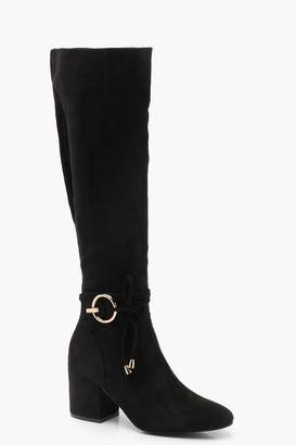 boohoo Metal Trim Block Heel Knee Boots