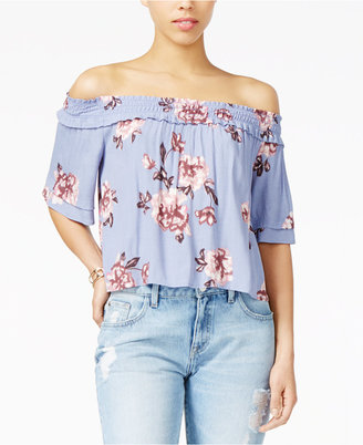 ASTR Esme Printed Off-The-Shoulder Top $72 thestylecure.com