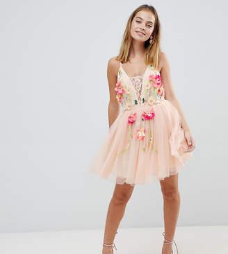 Asos DESIGN Petite tulle 3D embellished flower mini dress