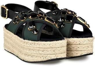 Marni Fussbett Neoprene And Leather Flatform Sandals