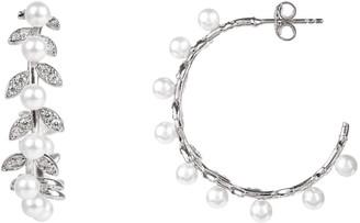 Laurèl Latelita Pearl Hoop Earrings Silver