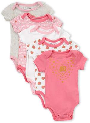 Juicy Couture Newborn Girls) 5-Pack Hearts Bodysuits