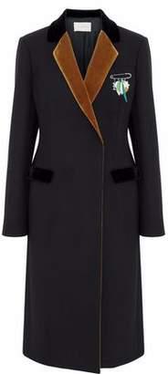 Christopher Kane Ona Embellished Velvet-Trimmed Wool-Blend Coat