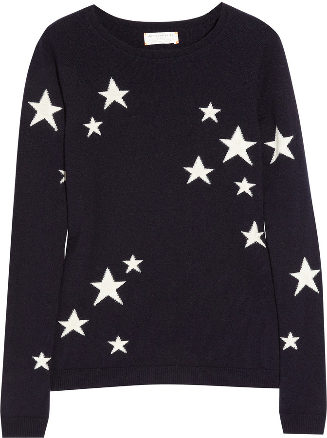 Chinti and Parker Star intarsia cashmere sweater