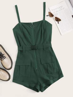 Shein Solid Zip Front Pocket Patch Belted Romper