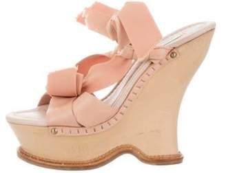 Nina Ricci Platform Slingback Wedges Pink Platform Slingback Wedges