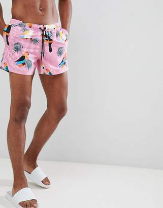 Asos DESIGN Swim Shorts With Toucan Print In Short Length