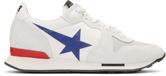 Golden Goose White Blue Star Running Sneakers $480 thestylecure.com
