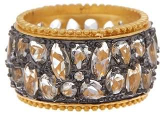Freida Rothman Rhodium & 14K Gold Plated Sterling CZ Silver Anniversary Cigar Band Ring - Size 8