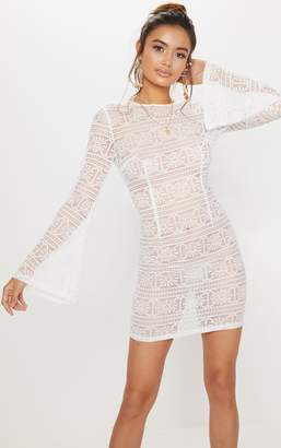 PrettyLittleThing White Tie Back Lace Bodycon Dress