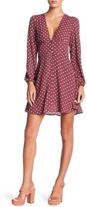 Wishlist V-Neck Polka Dot Print Dress
