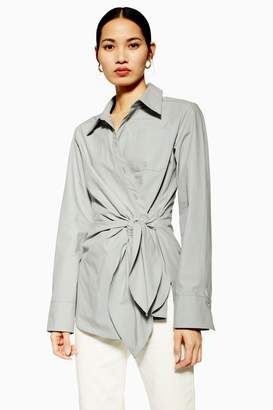 Topshop Womens **Grey Wrap Shirt By Boutique - Grey