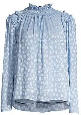 Rebecca Taylor Women's Shirred & Ruffled Print Blouse