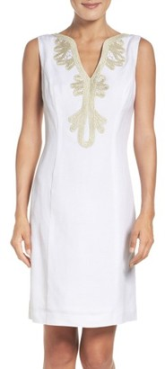 Women's Eliza J Embroidered Neck Sheath Dress $118 thestylecure.com
