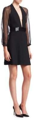 Emporio Armani Tech Cady Sheer Sleeve Mini Dress