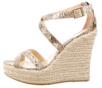 Jimmy Choo Jimmy Choo Embossed Snakeskin Wedges