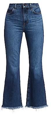 J Brand Women's Julia High-Rise Frayed Hem Crop Flare Jeans