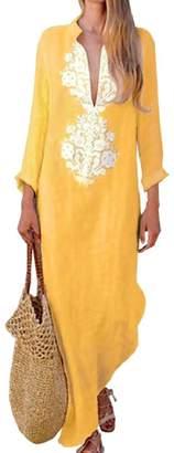 LEISHOP Women's V Neck Loose Fit Cotton Linen Maxi Kaftan Dress M