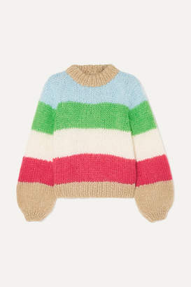 0193bb722e2 Ganni Striped Mohair And Wool-blend Sweater - Sky blue