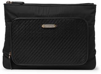 Ermenegildo Zegna Pelle Tessuta Leather and Nylon Wash Bag - Men - Black